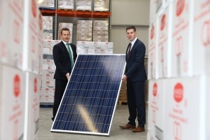 Major Investment Programme Gets Underway at Armagh Bakery / Mel Courtney, (left) General Manager, UK and Ireland, Kingspan Energy Ltd is pictured with Patrick Woods, Sales and Marketing Director, Linwoods with a sample of one of the 200 rooftop solar panels which is being installed as part of a £2 million development at the companies Armagh site.