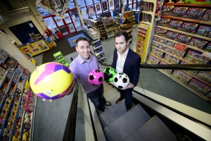 Pictured are Seamus Hogan, IT Network and Infrastructure Manager, Smyths Toys and Ross Palmer, MD, Fastcom in Smyths Toys, Headford Road, Galway. Pic. Michael Dillon