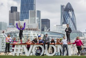 (Left to Right) Angelo Urzua-Milla, Gail Bryden, Claire McGarry, Lilli Millar and model, William Bateman and Burt The Binman, Dean Evans, Julie Chen, Ruth Lucas and Bronwyn the dog, Jack Farmer, James Gordon and Julie Creffield. These 11 entrants competing in this year's Virgin Media Business VOOM 2016 represent a cross section of sectors hoping to win the chance to pitch to Richard Branson and win a share of £1million in the U.K. and Ireland's most valuable business competition. London, Tuesday 26th April 2016.