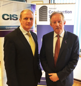 Tom Parlon (right), Director General of the Construction Industry Federation (CIF) and Tom Moloney, Managing Director of        Construction Information Services (CIS) at the announcement of the National Construction Summit 2016 to be held in the RDS on June 15th